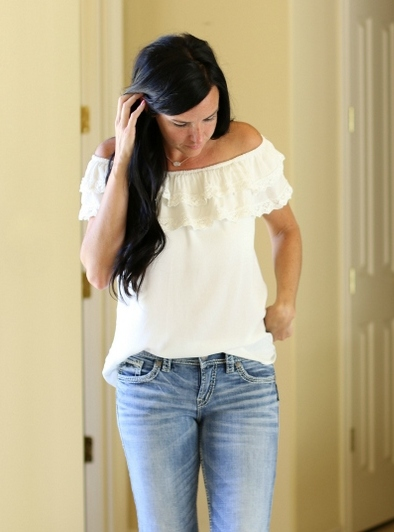 Silver Jeans | Off the Shoulder | Teacherfashionista | Jules