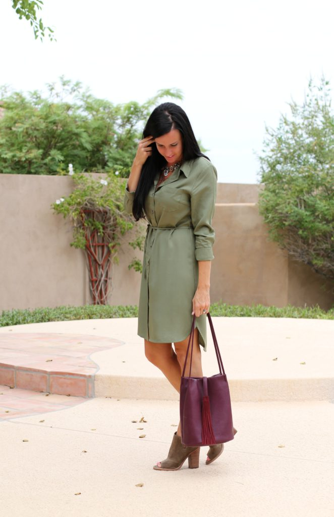 Shirt Dress | Olive Green | Teacherfashionista | Jules
