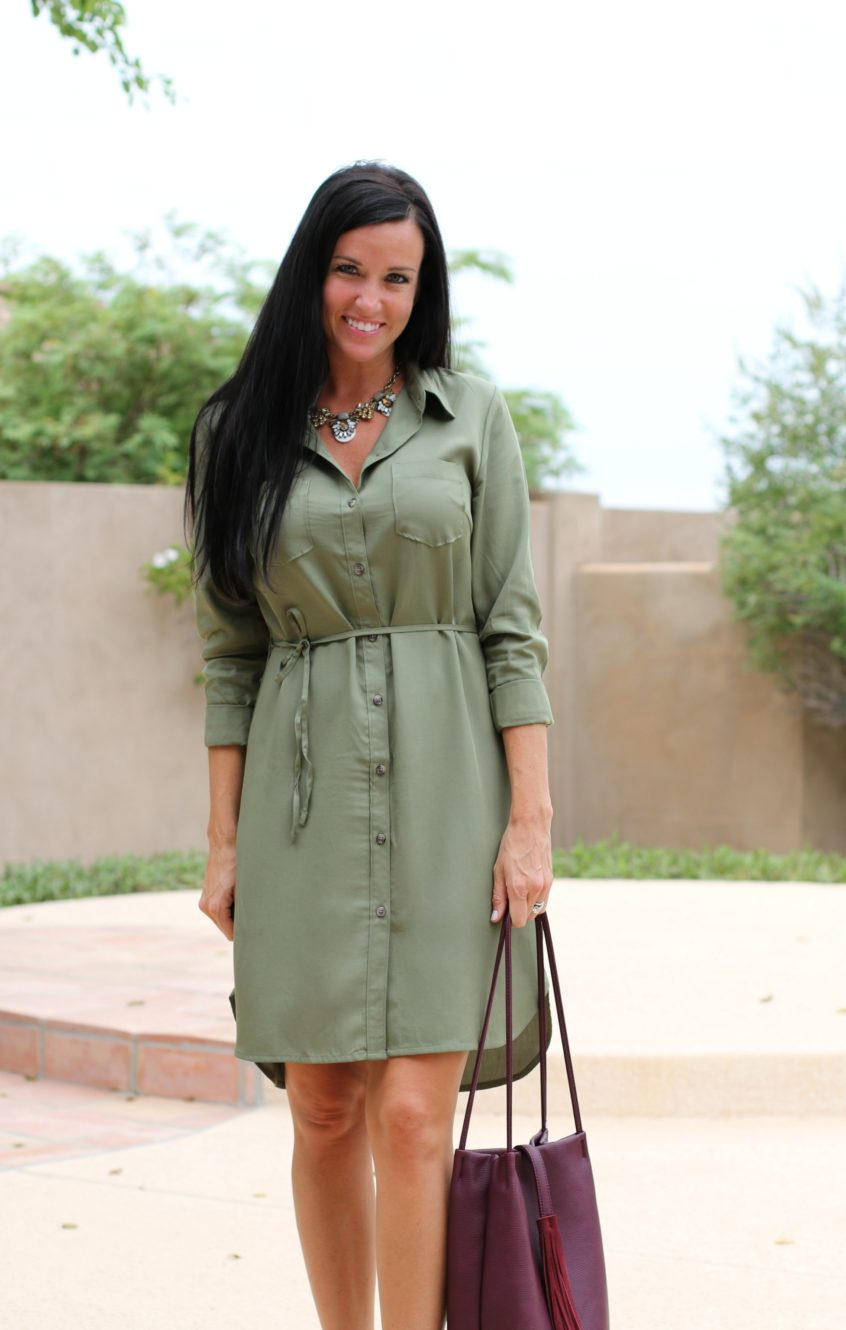 Shirt Dress | Olive Green | Teacherfashionista | Jules
