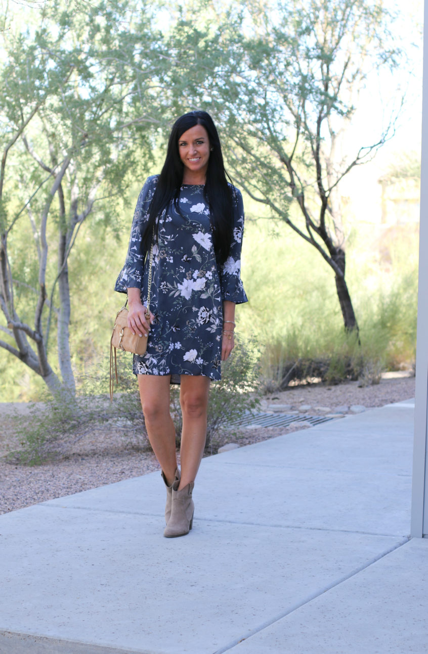 Ruffle Sleeve Dress | Fall Floral Dress | Teacherfashionista | Jules