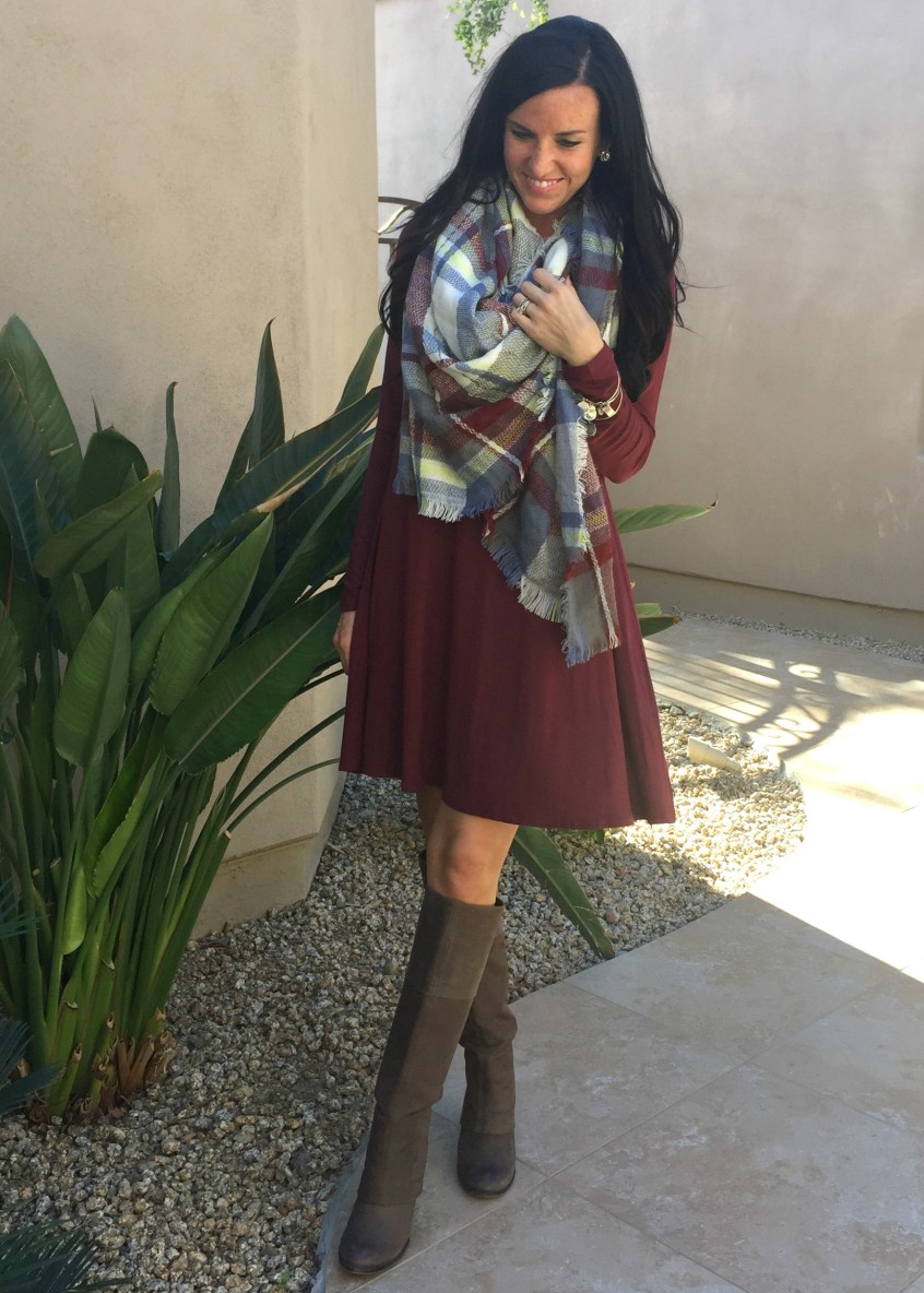 A Swing Dress + A Blanket Scarf