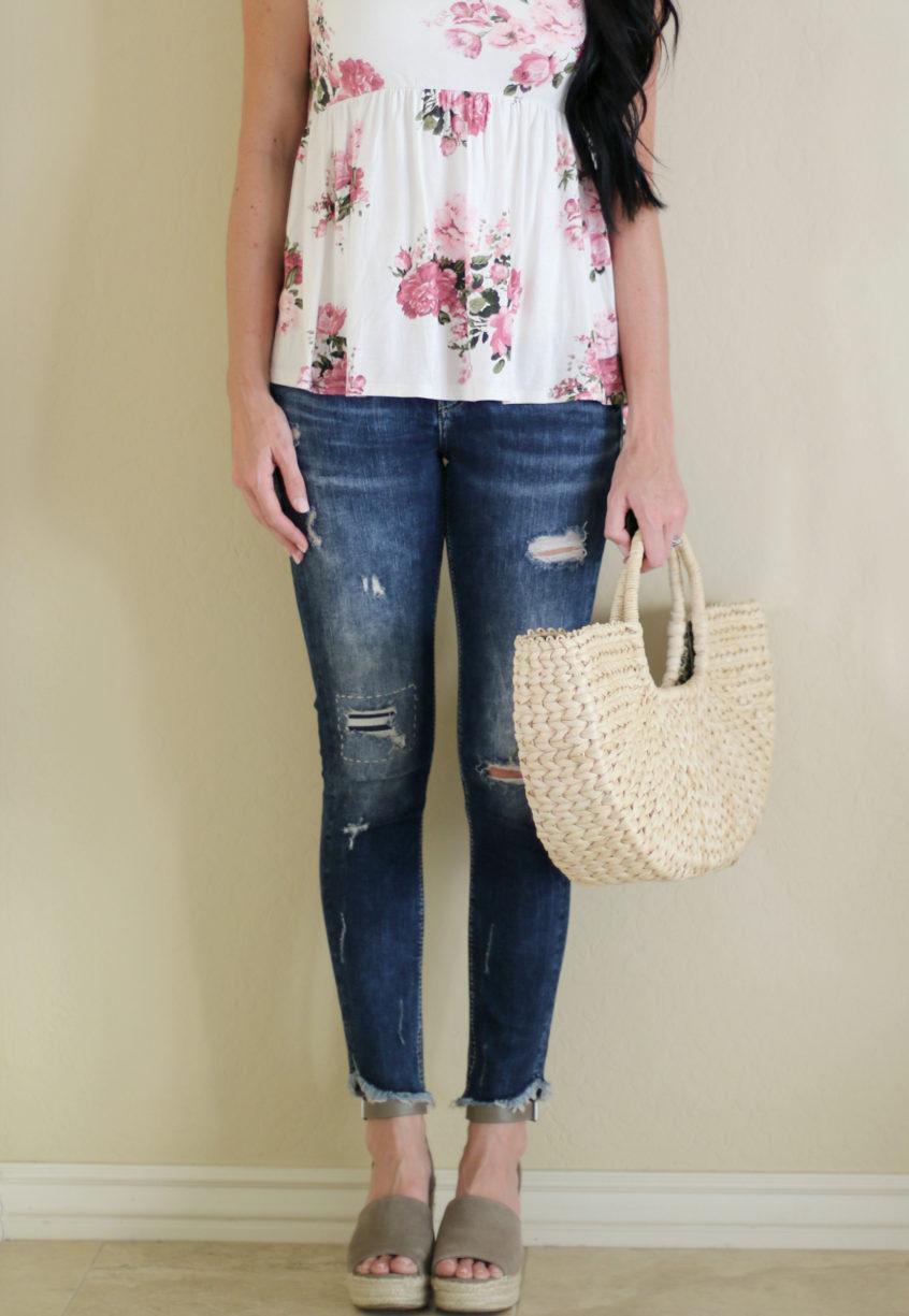 Silver Jeans | Raw Hem | Floral Tank | Teacherfashionista | Jules
