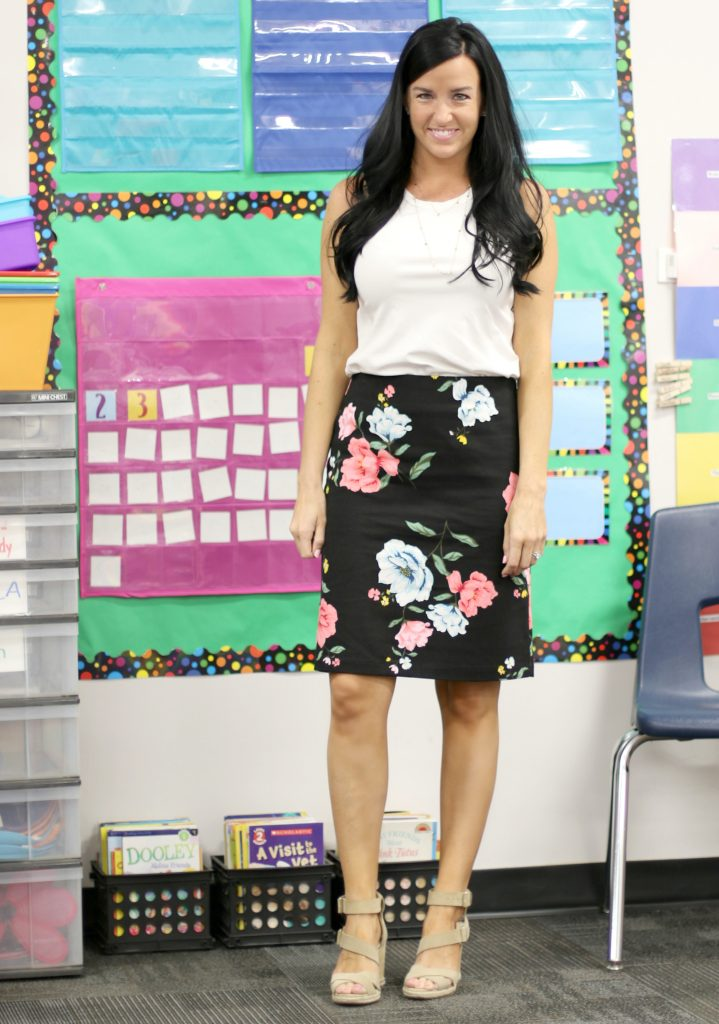A Pencil Skirt Styled 4 Ways | Floral Pencil Skirt | Teacherfashionista | Jules